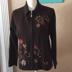 Brown Zip Front Sweater.  Size M